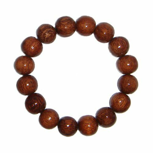 Hawaiian Jewelry Dark Koa Wood 12mm Elastic Bead Bracelet