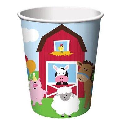 BARNYARD Farmhouse Fun 9oz PAPER CUPS (8) ~ Birthday Party Supplies Drinking](Barnyard Birthday Party Supplies)