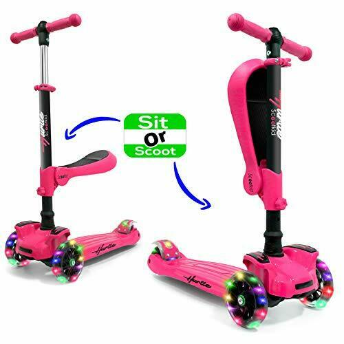 Hurtle HURFS66 3-Wheeled Pink Toy Scooter for Kids with Built-In LED Wheel Light