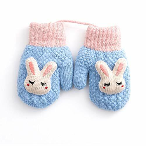 Toddler Baby Knitted Gloves Cute Winter Fleece Ski Mittens Xmas Gift for Blue