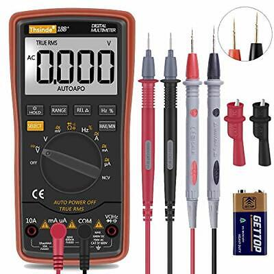 Auto Ranging Digital Multimeter Trms 6000 With Battery Alligator Clip Test Leads