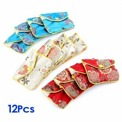12x Silk Chinese Pattern Jewelry Purse Pouch Gift Bags Blue/Red/Yellow 8x6.5cm