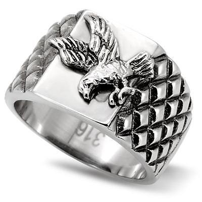 Patriotic Rings (Men's Stainless Steel Eagle USA United States Military Biker Patriotic)