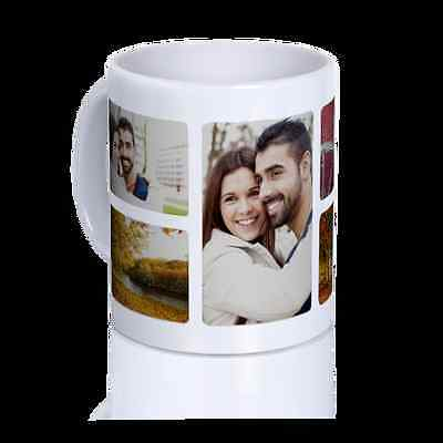 White Coffee Mug Collage Custom Cup Personalized Gift Ceramic Logo Text Photo