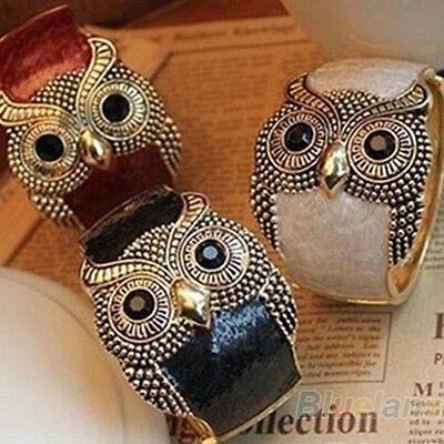 Enamel Wide Bangle (Fashion Women Enamel Alloy Big Eyes Owl Wide Bangle Cuff Bracelet Jewelry)