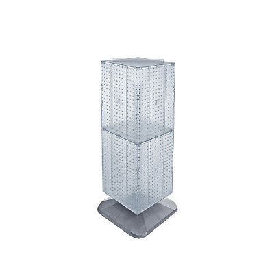 Clear 4-sided Pegboard Tower Display 14w X 40h Inches On Revolving Base