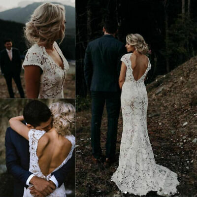 Vintage Bohemian Backless Cap Sleeve Lace Mermaid Bridal Gowns Wedding Dresses