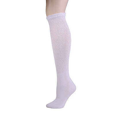 12 PAIR KNEE HIGH WHITE PHYSICIAN'S CHOICE OVER THE CALF DIABETIC SOCKS 13-15