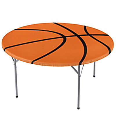 BASKETBALL ROUND PLASTIC TABLE COVER ~ Birthday Party Supplies Sports Decoration (Basketball Birthday Supplies)