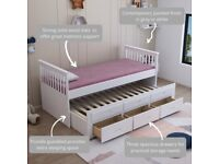 Captain bed, 3 Draws, storage, Trundle, Guest bed, White Grey, under single bed, padded, mattress,