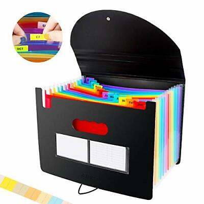 Portable File Organizer Expanding Folder With Cover Storage High Capacity Labels