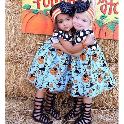 Toddler Kids Baby Girl Halloween Pumpkin Party Princess Dresses Casual Sundress](Party Girl Halloween)