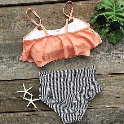 Women Swimwear Fashion Falbala High Waisted Bikini Set Push Up Swimsuit Bathing