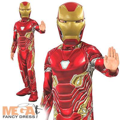 Iron Man Boys Fancy Dress Infinity War Superhero Kids Childs Book Costume + (Ironman Kid Kostüme)