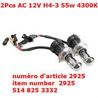 2Pcs AC 12V H4-3 55w 4300K Vehicles Xenon HID Light Bulb Replace