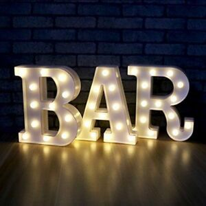 Illuminated Marquee Bar Sign Carnival Marquee Letter BAR Chic Shabby Battery LED