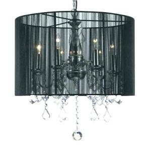 Crystal Chandelier with Dramatic Black Drum shade