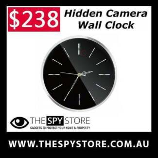 Hidden Spy Camera Wall Clock in Black 1080P HD NANNY CAM