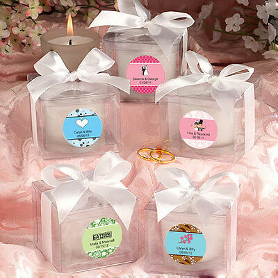 24 Personalized Glass Votive Candles w/Box Birthday Baby Party Wedding Favors
