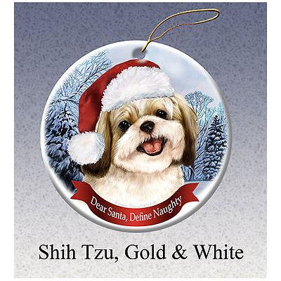 Shih Tzu Gold Howliday Porcelain China Dog Christmas Ornament