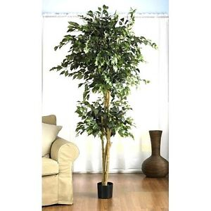 6 39 large artificial ficus silk tree fake plant potted decor yard outdoor indoor. Black Bedroom Furniture Sets. Home Design Ideas