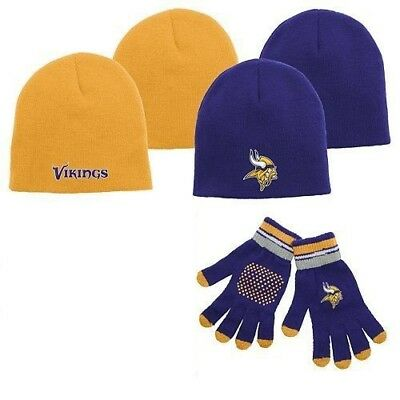 - Minnesota Vikings Knit Cap Hat Beanie & Glove Set -- Youth Size **Free Shipping