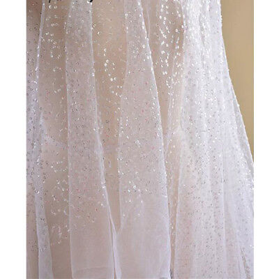 1 Yard Bridal 4mm Sequins Tulle Mesh Lace Fabric For DIY Wedding Dress Clothes
