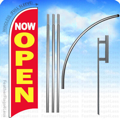 Now Open - Windless Swooper Flag Kit 15 Featherbanner Sign - Rb