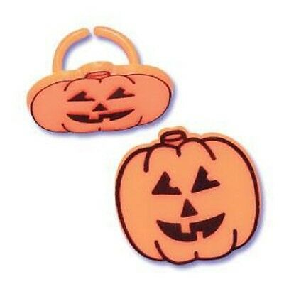 12 NEW HALLOWEEN PUMPKIN JACK O LANTERN BIRTHDAY PARTY FAVORS CUPCAKE RINGS LOOT ()