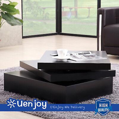 تربيزه جديد Black Square Coffee Table Rotating Contemporary Modern Living Room Furniture