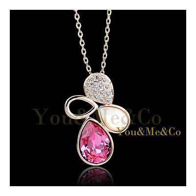 18K Rose Gold EP Brilliant & Pear Cut Sapphire Crystal Pendant covid 19 (Brilliant Cut Pink Sapphire Necklace coronavirus)
