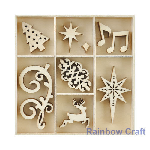 Kaisercraft Wooden Flourish packs / storage box 74 selections - Fancy Christmas