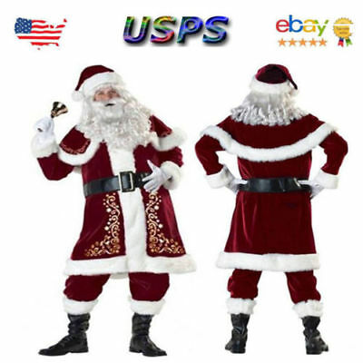 Adult 7 Piece Deluxe Santa Claus Suit Father Christmas Xmas Fancy Dress Costume - Men Adult Costumes