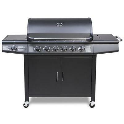 CosmoGrill 6+1 Deluxe Gas BBQ Black Barbecue Grill incl Side Burner Model-...