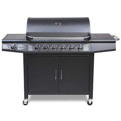 CosmoGrill 6+1 Deluxe Gas BBQ Black Barbecue Grill incl Side Burner Model- 93416