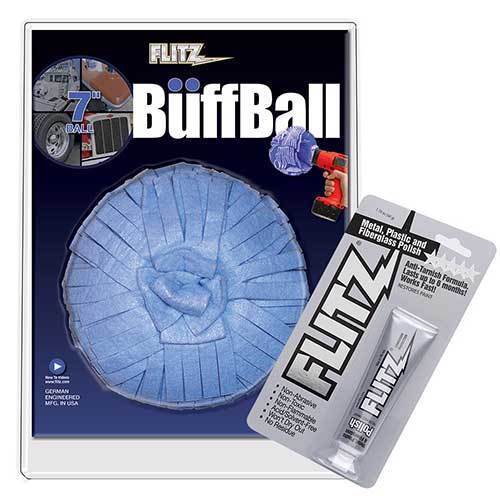 "Flitz WB 201-50 Blue Buff Ball 7"" with 1.76 oz Paste Polish"