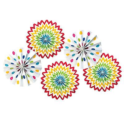 Chevron Birthday Decorations (RAINBOW POLKA DOT CHEVRON PAPER FAN DECORATIONS (5) ~ Birthday Party)
