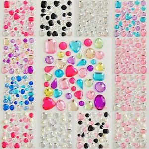 Shape colors self adhesive rhinestones pearls stick on for Stick on gems for crafts