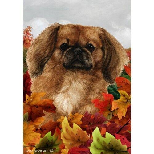 Fall Garden Flag - Fawn Pekingese 130421