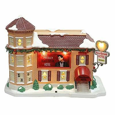 Elvis Presley Heartbreak Hotel Christmas Village LED Illuminated & Musical Porc