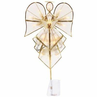 Wondershop ANGEL LIT TREE TOPPER Easy Clip 16 lights NEW Capiz Christmas Gold