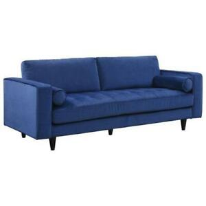MyStyle Collection Yazmin Sofa Velvet Blue  (Assembled)