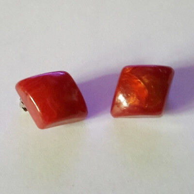 Vintage 50's Red Diamond Shaped Clip On Fashion Earrings