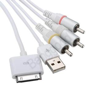 USB AV TV RCA Audio Video Composite Cable for iPad 3 2 iPhone 4S 4G iPod Touch