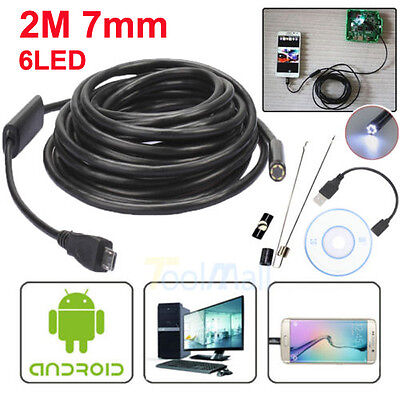 2M 7mm Android Endoscope Waterproof Snake Borescope USB Inspection Camera 6 LED