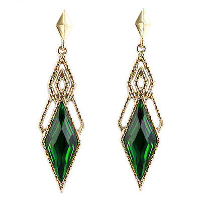 Vintage Style Beautiful Gold & Dark Green Long Drop Stud Evening Earrings E960
