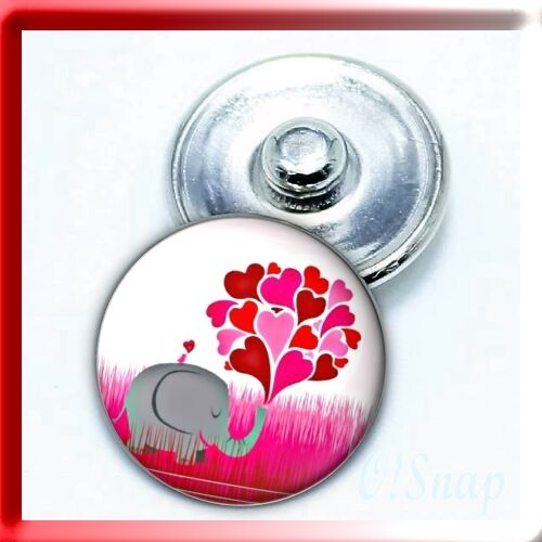 ELEPHANT HEARTS BALLOON Ginger Snap Button Charm (Cart ANY 4 items, 2 w/b FREE)