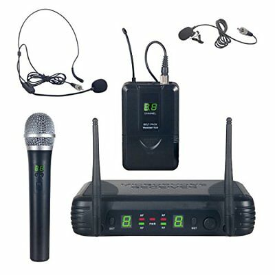UHF Wireless Microphone System Kit, Includes Handheld Mic, Headset Mic for sale  Shipping to India