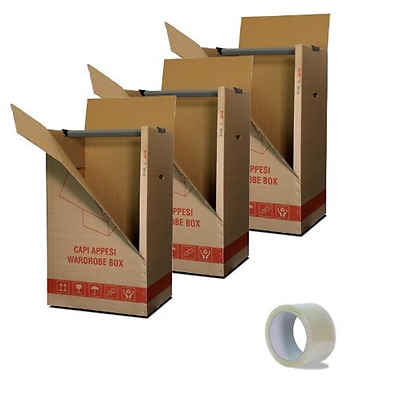 Imballaggi2000 Kit 3 Scatole Cartone Porta Abiti Capi Appesi cm. 50x60 H 111 con