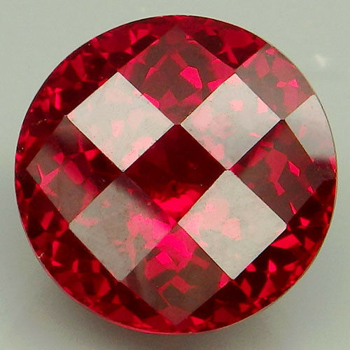 15CT. BEAUTEOUS!!! RED TOPAZ ROUND WITH CHECKERBOARD TABLE